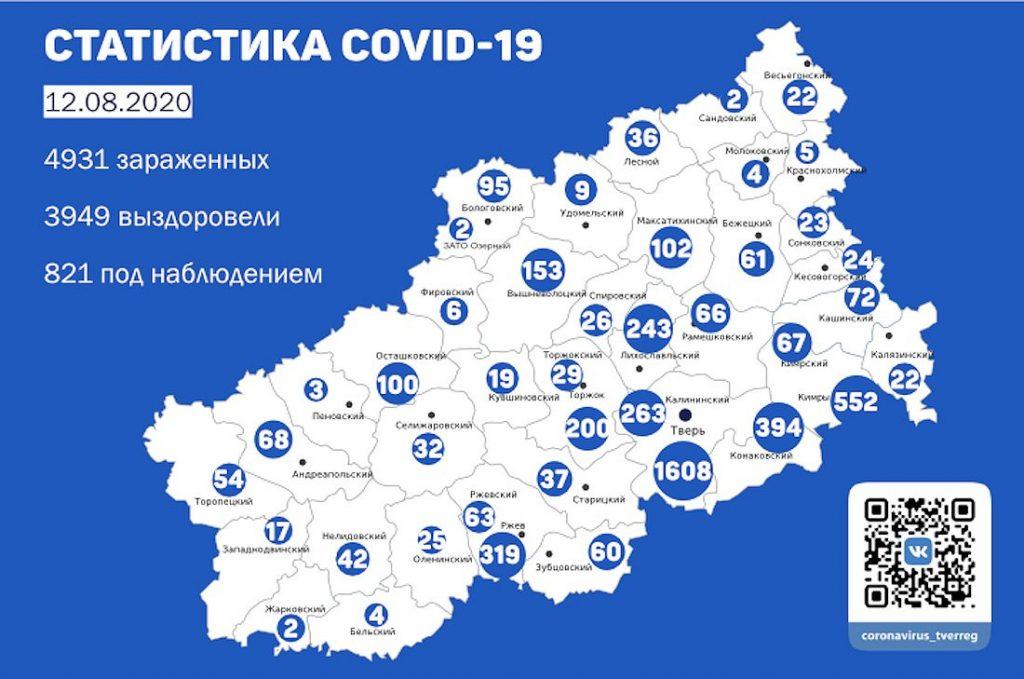 Новые случаи коронавируса выявлены в 12 муниципалитетах Тверской области