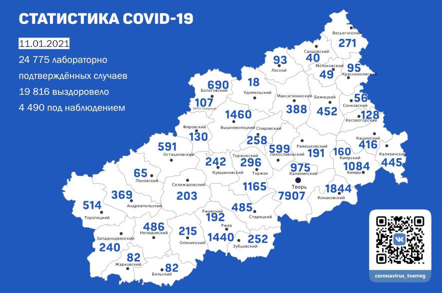 Статистика по коронавирусу в Тверской области на 11 января